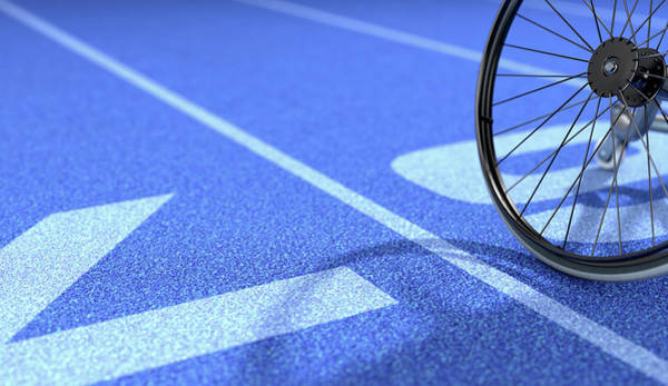 Wall Art - Digital Art - Sports Wheelchair On Athletics Track by Allan Swart