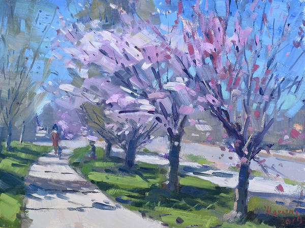Cherry Wall Art - Painting - Spring Blossom by Ylli Haruni