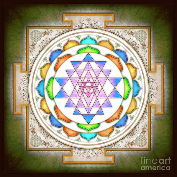 Wall Art - Digital Art - Sri Yantra - Colorful Floral I.ii by Dirk Czarnota