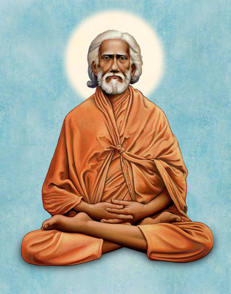 Painting - Sri Yukteswar Giri On Blue by Sacred Visions