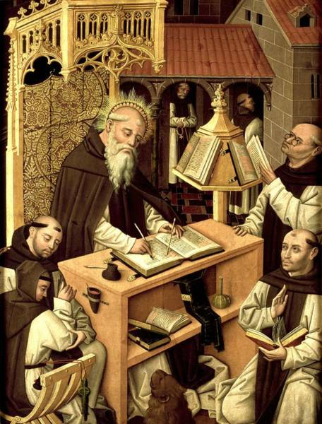 Wall Art - Painting - St Jerome In The Scriptorium  by Master of Parral