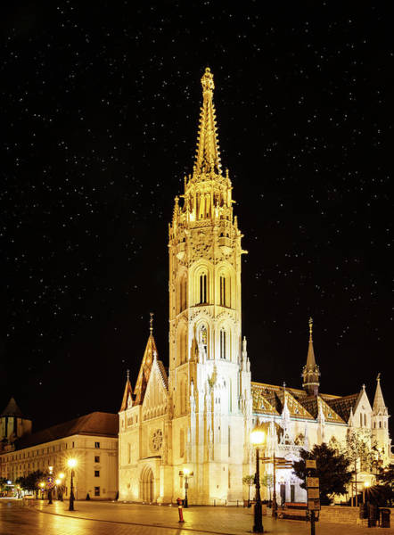 Wall Art - Photograph - St. Matthias Church In Budapest At Night by Alexey Stiop