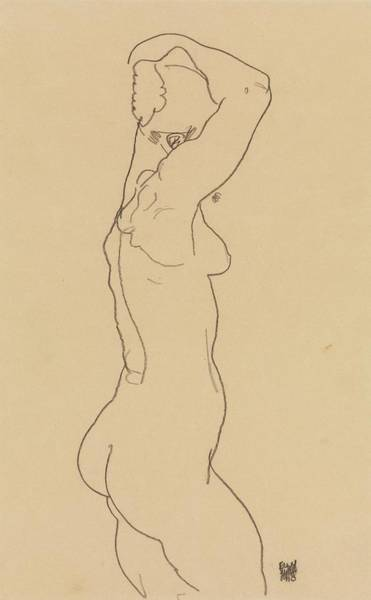 Drawing - Standing Nude, Facing Right by Egon Schiele