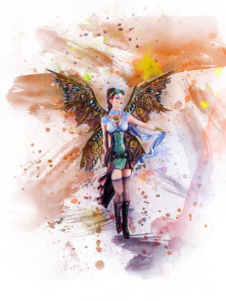 Digital Art - Steampunk Gothic Angel by Ian Mitchell