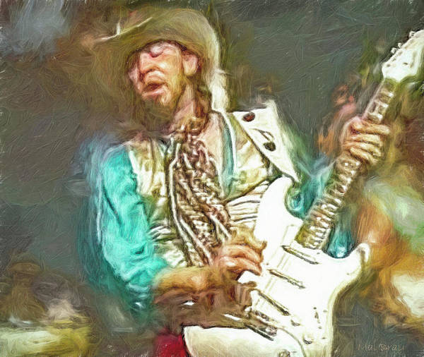 Hard Rock Mixed Media - Stevie Ray Vaughan by Mal Bray