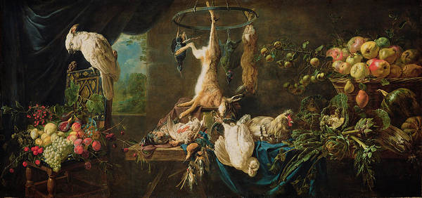 Painting - Still Life Game, Vegetables, Fruit, Cockatoo by Adriaen van Utrecht