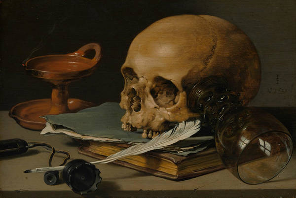 Painting - Still Life With A Skull And A Writing Quill by Pieter Claesz
