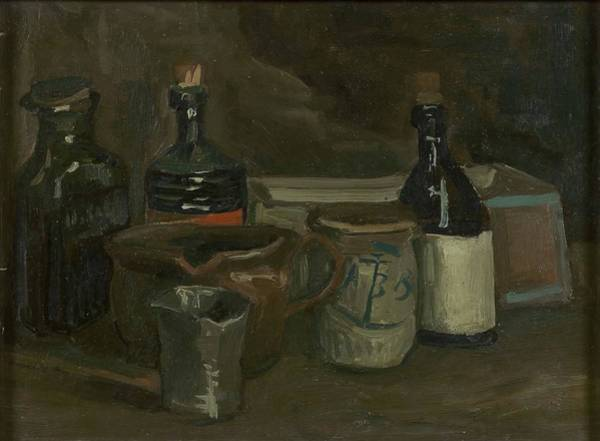 Potato Painting - Still Life With Bottles And Earthenware by Vincent Van Gogh