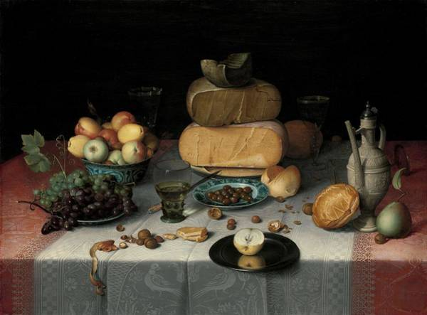 Apple Peel Painting - Still Life With Cheese. by Floris Claesz van Dijck