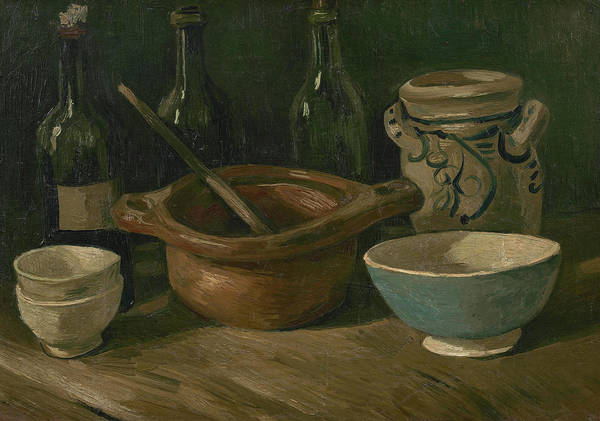 Potato Painting - Still Life With Earthenware And Bottles by Vincent Van Gogh