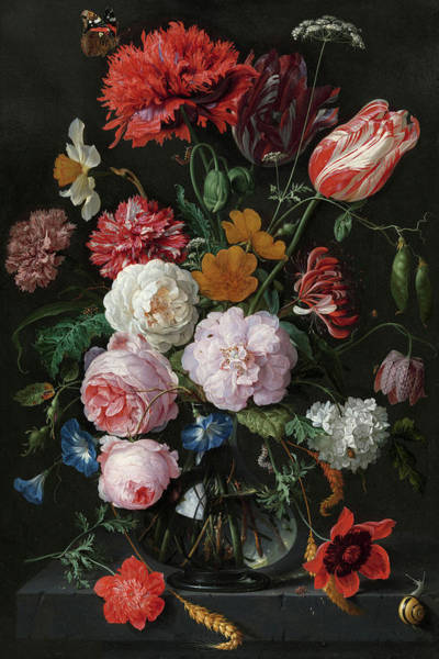 Wall Art - Painting - Still Life With Flowers In A Glass Vase, 1683 by Jan Davidsz de Heem