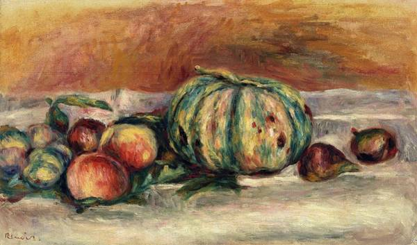 Apple Peel Wall Art - Painting - Still Life With Melon by Pierre-Auguste Renoir