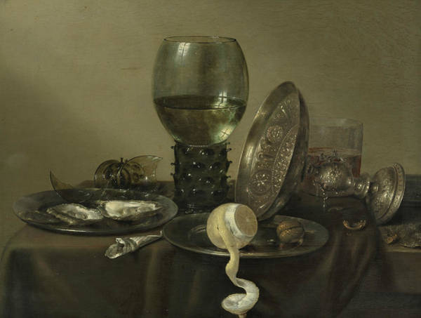 Wall Art - Painting - Still Life With Oysters, A Rummer, A Lemon And A Silver Bowl by Willem Claeszoon Heda