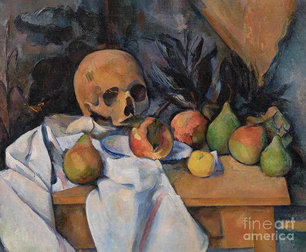 Wall Art - Painting - Still Life With Skull by Paul Cezanne