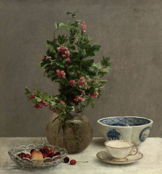 Wall Art - Painting - Still Life With Vase Of Hawthorn, Bowl Of Cherries, Japanese Bowl, And Cup And Saucer by Henri Fantin-Latour