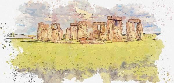 Painting - Stonehenge Watercolor By Ahmet Asar by Ahmet Asar