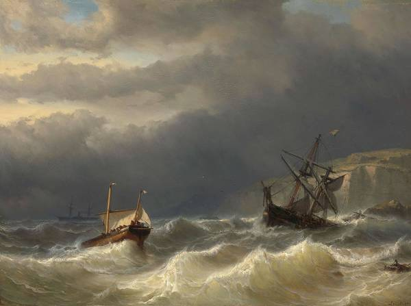 Meijer Painting - Storm In The Strait Of Dover. by Louis Meijer