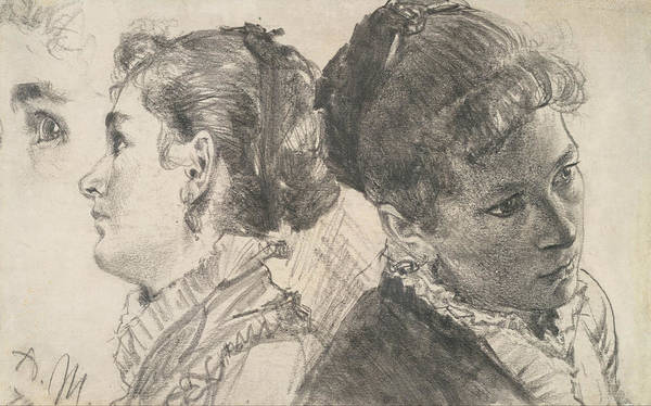 Drawing - Studies Of A Young Woman by Adolph Menzel