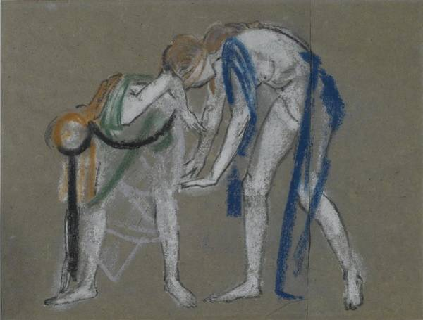 Wall Art - Painting - Study Of Two Dancers by Arthur