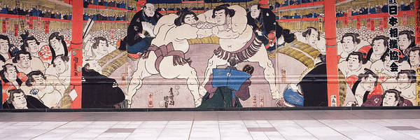 Wall Art - Photograph - Sumo Wrestling Mural On A Wall, Ryogoku by Panoramic Images
