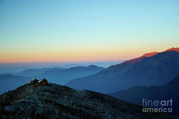 Wall Art - Photograph - Sunrise Above Mountain In Valley Himalayas Mountains Mardi Himal by Raimond Klavins