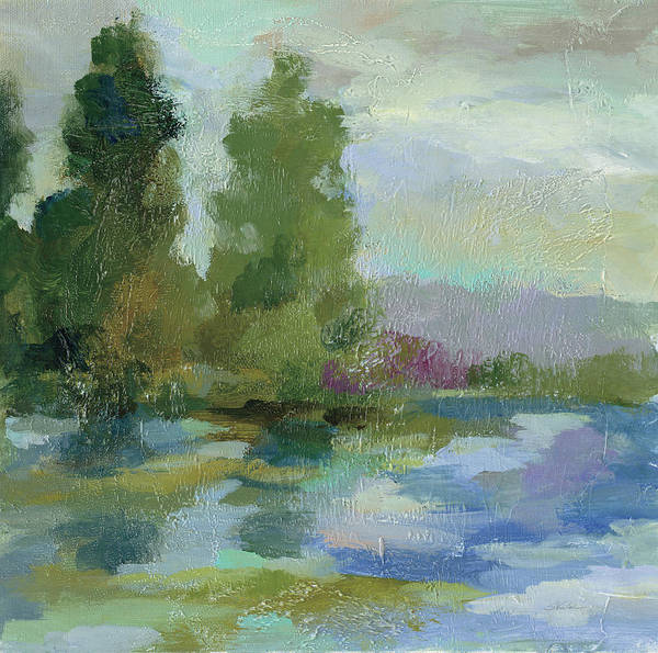 Wall Art - Painting - Sunrise At The Lake I by Silvia Vassileva