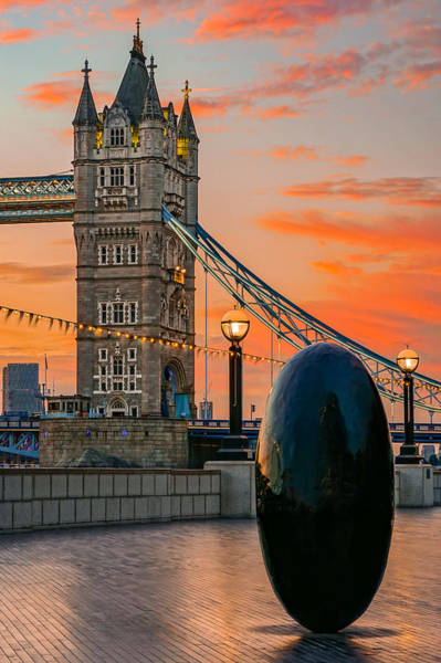 Wall Art - Photograph - Sunrise At Tower Bridge In London by George Afostovremea