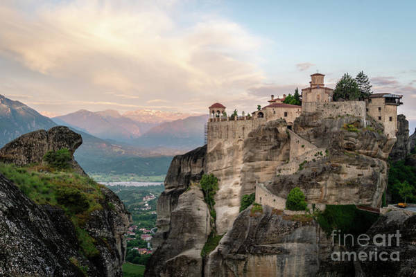 Photograph - Sunrise Over A Meteora Monastery In Greece by Didier Marti