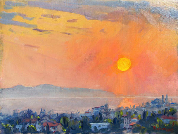 Wall Art - Painting - Sunrise Over Dilesi Athens  by Ylli Haruni