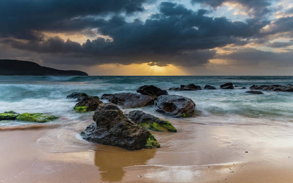 Killcare Photograph - Sunrise Seascape, Clouds  And Sun Rays by Merrillie Redden
