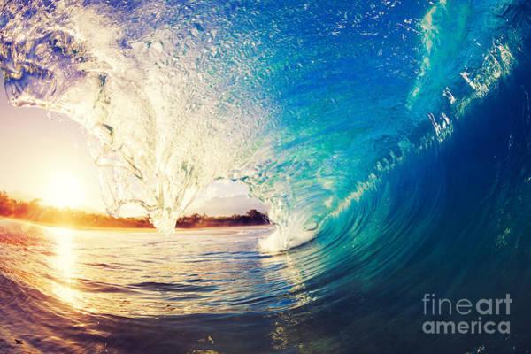 Wall Art - Photograph - Sunrise Wave, Tropical Island Atoll by Epicstockmedia
