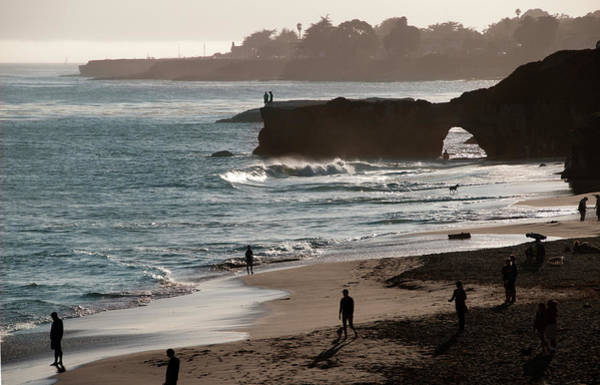 Waters Edge Photograph - Sunset At Santa Cruz Beach by Mitch Diamond