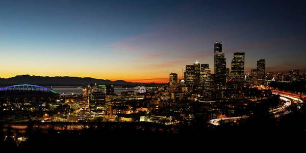 Wall Art - Photograph - Sunset Over Seattle, Washington, Usa by Panoramic Images