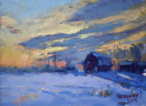 Wall Art - Painting - Sunset Over The Farm by Ylli Haruni