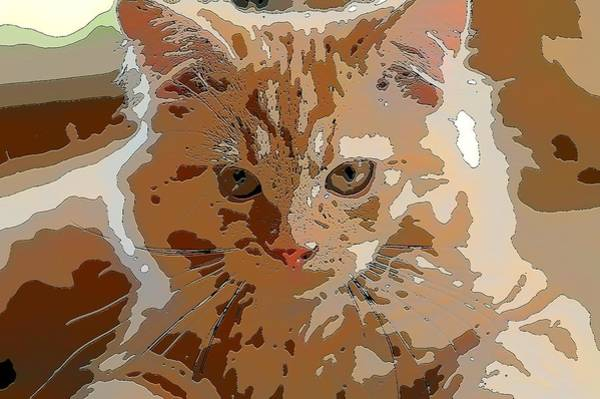 Digital Art - Super Duper Comic Cat Purple by Don Northup