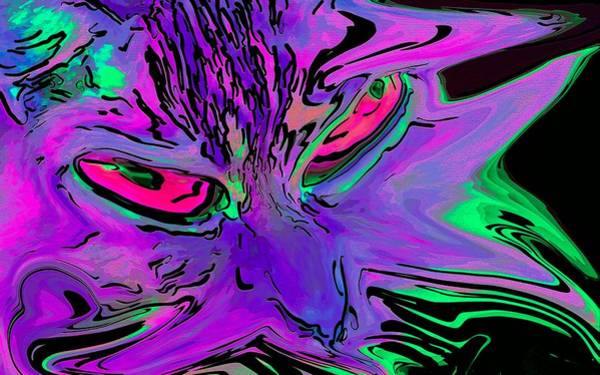 Digital Art - Super Duper Crazy Cat Purple by Don Northup