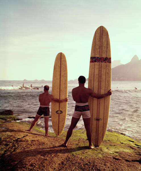 Only Man Photograph - Surfboards Ready by Tom Kelley Archive