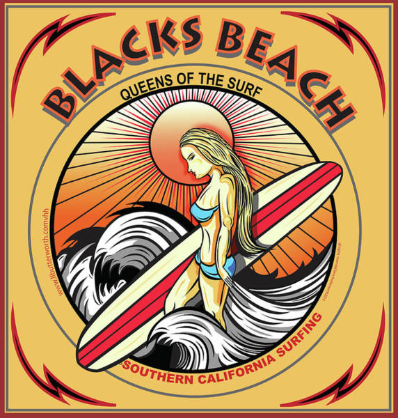 Wall Art - Digital Art - Surfing Blacks Beach San Diego California by Larry Butterworth