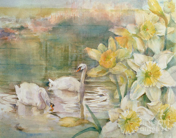 Wall Art - Painting - Swans At Hurst by Karen Armitage
