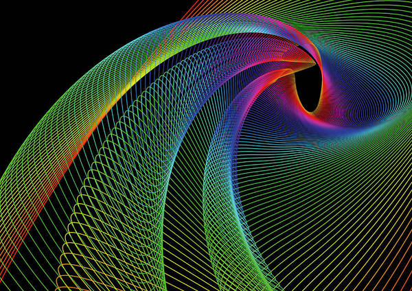 Spooky Digital Art - Swirling Rainbow Colored Lines by David Angel