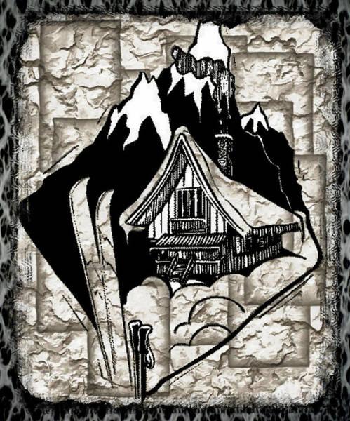 Digital Art - Swiss Mountain Chalet by Mario Carini