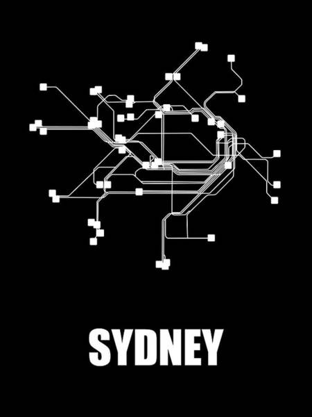 Wall Art - Digital Art - Sydney Black Subway Map by Naxart Studio