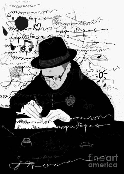 Wall Art - Digital Art - Symbolic Image Of A Man Who Writes A by Dmitriip