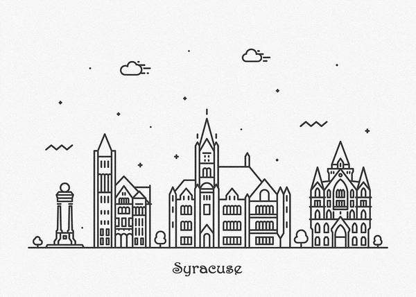 Drawing - Syracuse, New York Cityscape Travel Poster by Inspirowl Design
