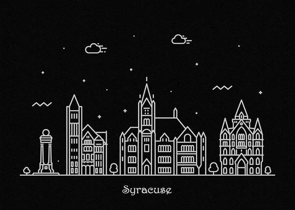 Wall Art - Drawing - Syracuse Skyline Travel Poster by Inspirowl Design