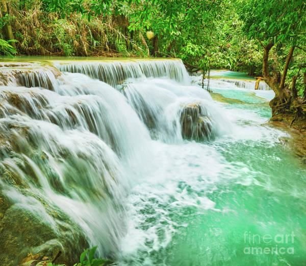 Wall Art - Photograph - Tat Kuang Si Waterfalls. Beautiful Landscape. Laos. by MotHaiBaPhoto Prints