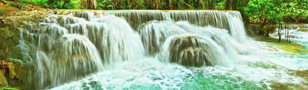Wall Art - Photograph - Tat Kuang Si Waterfalls. Beautiful Panorama Landscape. Laos. by MotHaiBaPhoto Prints