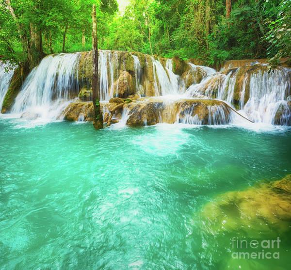 Wall Art - Photograph - Tat Sae Waterfalls. Beautiful Landscape, Laos by MotHaiBaPhoto Prints