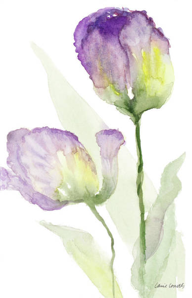 Wall Art - Painting - Teal And Lavender Tulips II by Lanie Loreth
