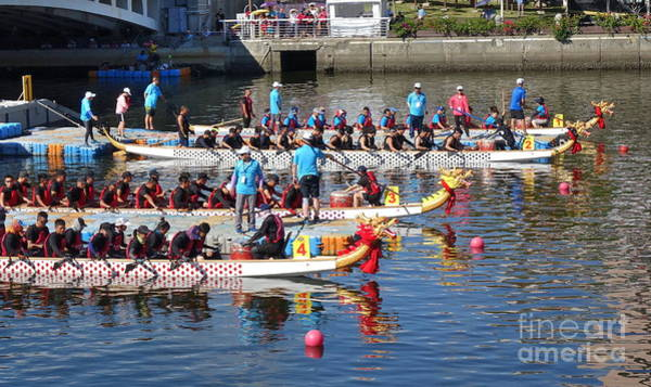 Photograph - Teams Get Ready For The Dragon Boat Races by Yali Shi